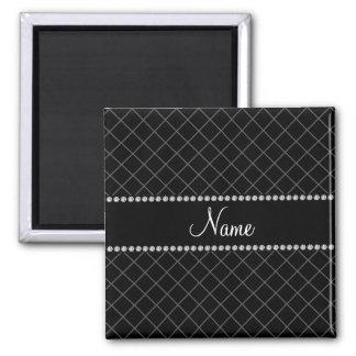Personalized name black grid pattern fridge magnet