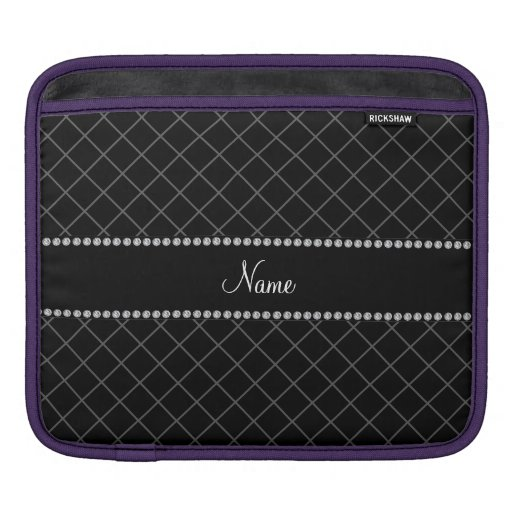 Personalized name black grid pattern sleeves for iPads