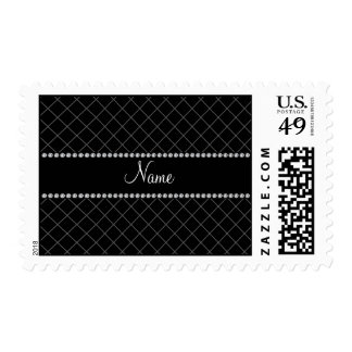 Personalized name black grid pattern postage