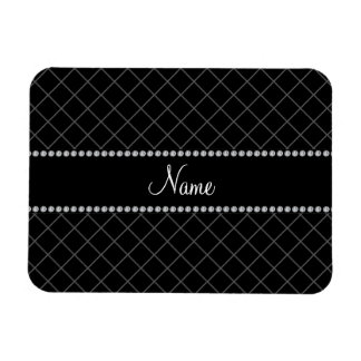 Personalized name black grid pattern rectangular magnet