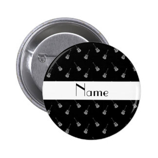 Personalized name black guitar pattern button