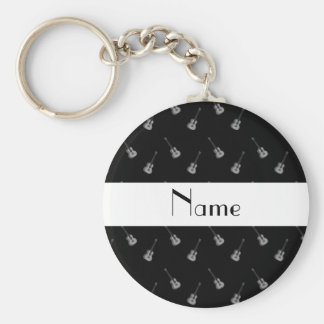 Personalized name black guitar pattern keychains