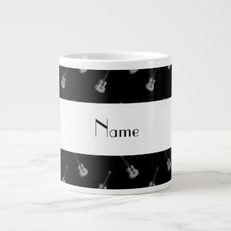 Personalized name black guitar pattern large coffee mug