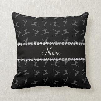 Personalized name black gymnastics pattern throw pillow