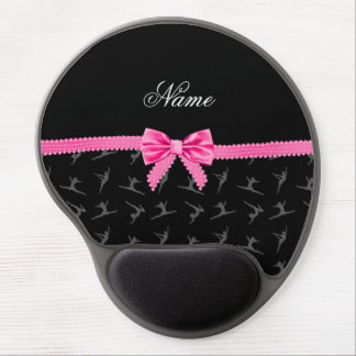 Personalized name black gymnastics pink bow gel mousepads