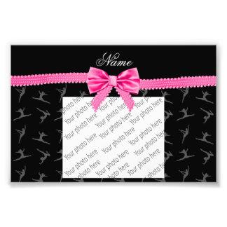 Personalized name black gymnastics pink bow photo print