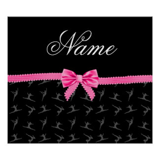 Personalized name black gymnastics pink bow poster
