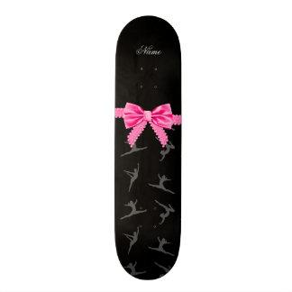 Personalized name black gymnastics pink bow custom skateboard