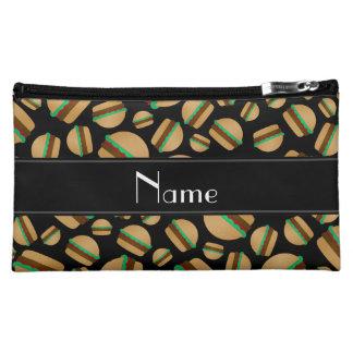 Personalized name black hamburger pattern cosmetic bag