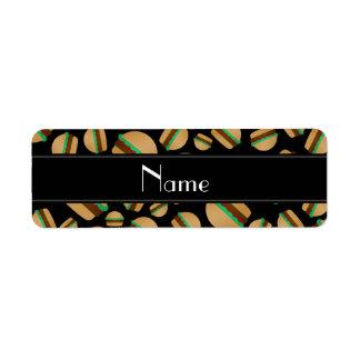 Personalized name black hamburger pattern return address label