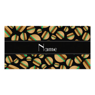 Personalized name black hamburger pattern custom photo card