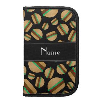Personalized name black hamburger pattern folio planners