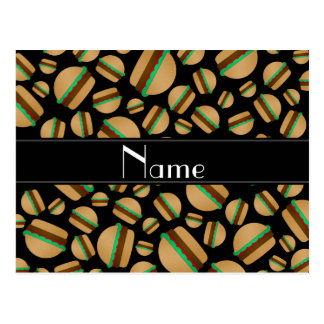 Personalized name black hamburger pattern post cards