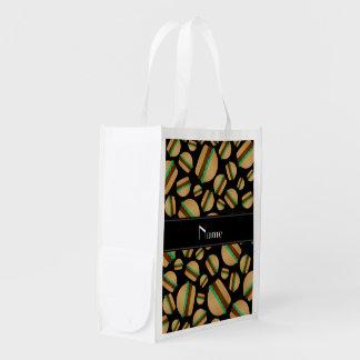 Personalized name black hamburger pattern grocery bag