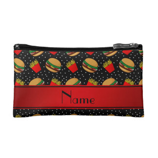 Personalized name black hamburgers fries dots cosmetic bag