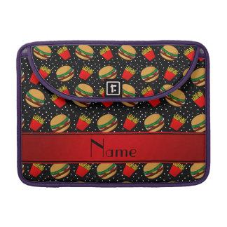 Personalized name black hamburgers fries dots MacBook pro sleeve
