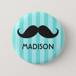 Personalized name black handlebar mustache aqua button