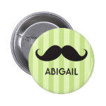 Personalized name black handlebar mustache green 2 inch round button