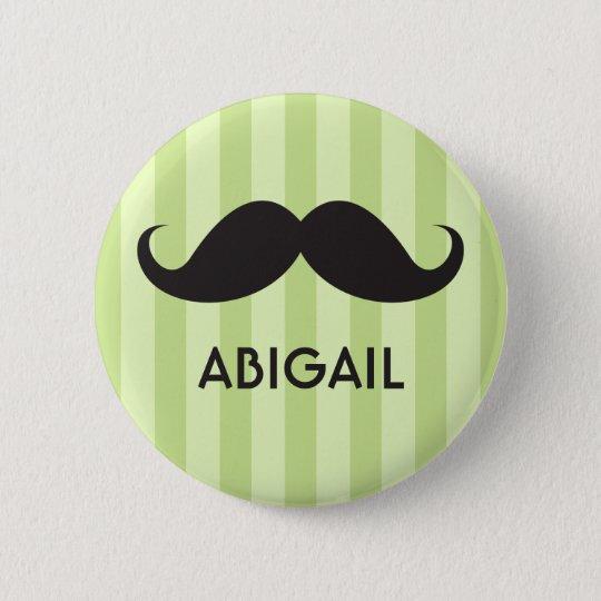 Personalized name black handlebar mustache green pinback button