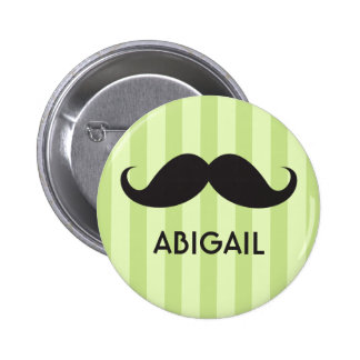 Personalized name black handlebar mustache green pinback button