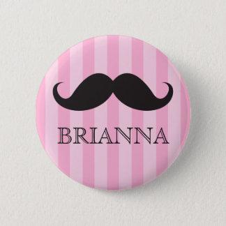 Personalized name black handlebar mustache pink pinback button