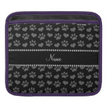 Personalized name black hearts and paw prints sleeves for iPads