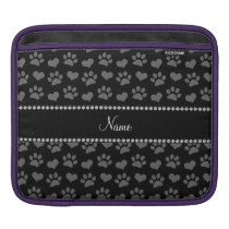 Personalized name black hearts and paw prints sleeve for iPads