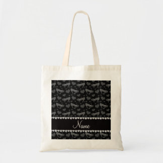 Personalized name black hearts shoes bows tote bag