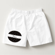 Personalized name black hockey pattern boxers