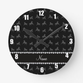 Personalized name black horse pattern round clock