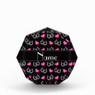 Personalized name black horseshoes hearts acrylic award