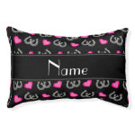 Personalized name black horseshoes hearts small dog bed