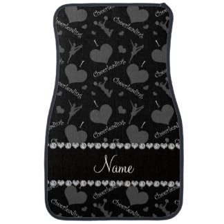 Personalized name black i love cheerleading hearts car mat