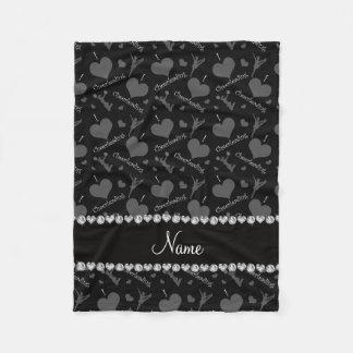 Personalized name black i love cheerleading hearts fleece blanket