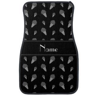 Personalized name black ice cream pattern car mat