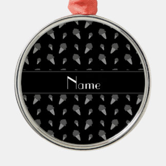 Personalized name black ice cream pattern christmas tree ornament