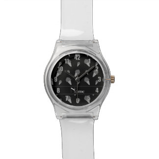Personalized name black ice cream pattern wristwatch