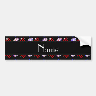 Personalized name black jerseys rugby balls car bumper sticker