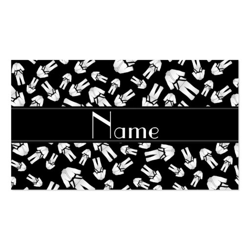 Personalized name black karate pattern business cards