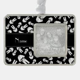 Personalized name black karate pattern ornament