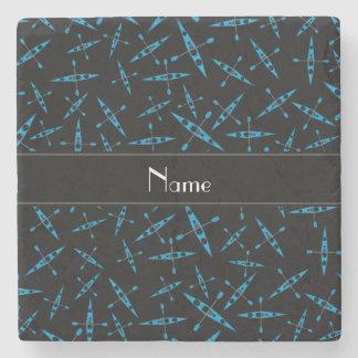 Personalized name black kayaks stone coaster