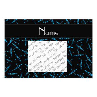 Personalized name black kayaks photo print