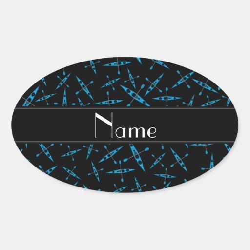 Personalized name black kayaks oval sticker