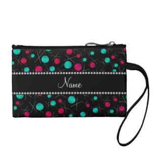 Personalized name black knitting pattern change purse