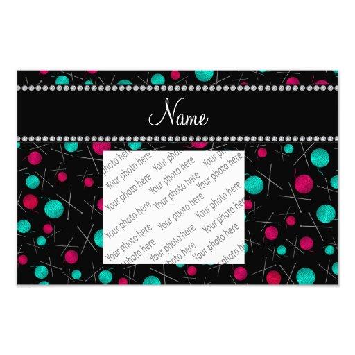 Personalized name black knitting pattern photographic print