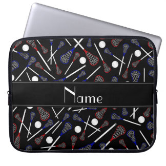 Personalized name black lacrosse pattern laptop sleeve