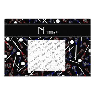 Personalized name black lacrosse pattern photo