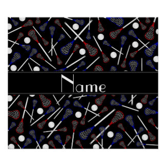 Personalized name black lacrosse pattern poster