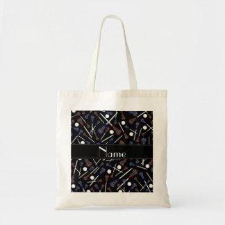 Personalized name black lacrosse pattern tote bag