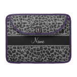 Personalized name black leopard pattern sleeves for MacBooks